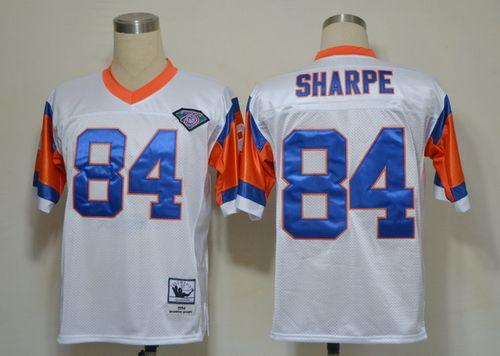 Denver Broncos 84 Shannon Sharpe White Throwback Mitchell And Ness NFL Jersey