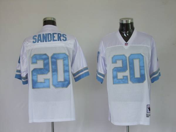 Detroit Lions 20 Barry Sanders White Throwback Mitchell And Ness NFL Jersey