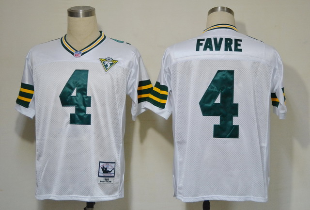Green Bay Packers 4 Brett Favre White 75th Throwback Mitchell And Ness NFL Jersey