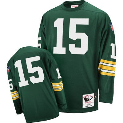 Green Bay Packers 15 Bart Starr Green Long Throwback Mitchell And Ness NFL Jersey