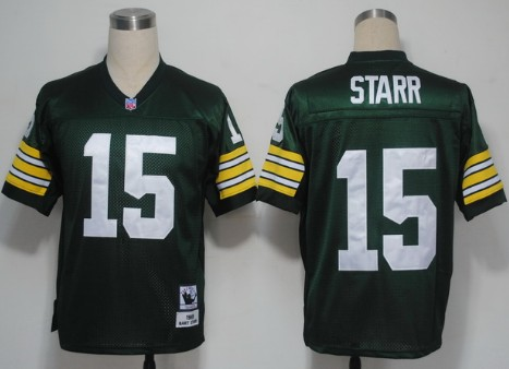 Green Bay Packers 15 Bart Starr Green Throwback Mitchell And Ness NFL Jersey