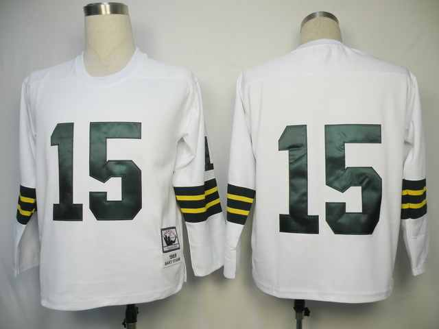 Green Bay Packers 15 Bart Starr White Long Throwback Mitchell And Ness NFL Jersey