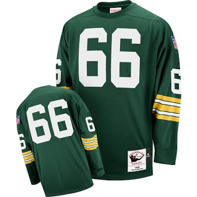Green Bay Packers 66 Ray Nitschke Green Long Throwback Mitchell And Ness NFL Jersey