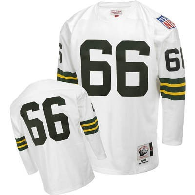 Green Bay Packers 66 Ray Nitschke White Long Throwback Mitchell And Ness NFL Jersey