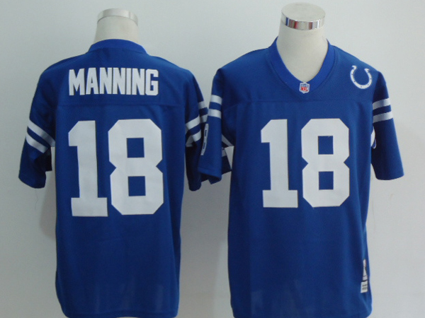 Indianapolis Colts 18 Peyton Manning Blue Throwback Mitchell And Ness NFL Jersey
