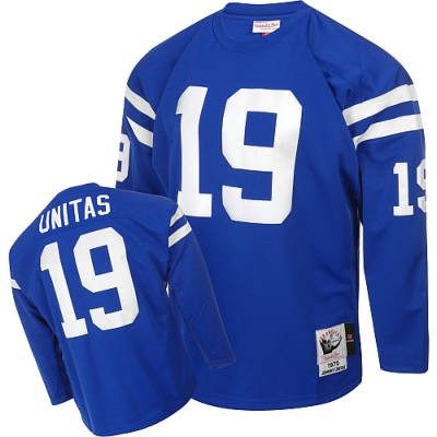 Indianapolis Colts 19 Johnny Unitas Blue Long Throwback Mitchell And Ness NFL Jersey