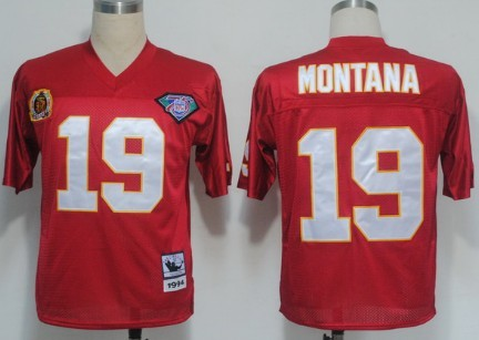 Kansas City Chiefs 19 Joe Montana Red Throwback Mitchell And Ness NFL Jersey