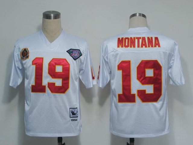 Kansas City Chiefs 19 Joe Montana White Throwback Mitchell And Ness NFL Jersey