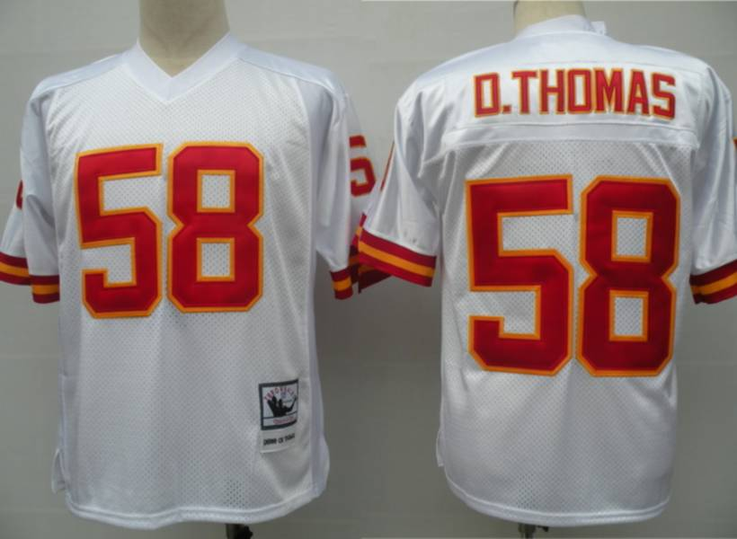Kansas City Chiefs 58 Derrick Thomas White Throwback Mitchell And Ness NFL Jersey