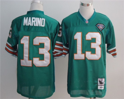 Miami Dolphins 13 Dan Marino Green Throwback Mitchell And Ness NFL Jersey