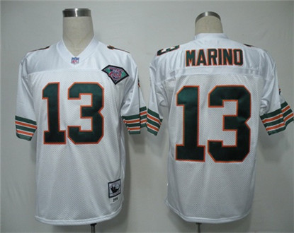 Miami Dolphins 13 Dan Marino White Throwback Mitchell And Ness NFL Jersey