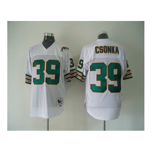 Miami Dolphins 39 csonka white Throwback Mitchell And Ness NFL Jersey