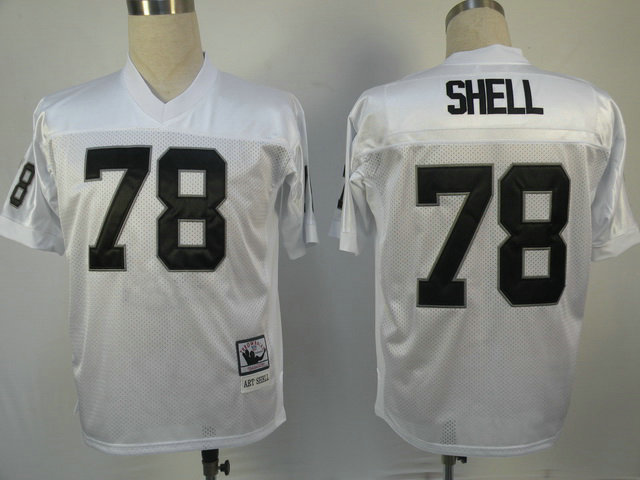 Oakland Raiders 78 Art Shell White Throwback Mitchell And Ness NFL Jersey