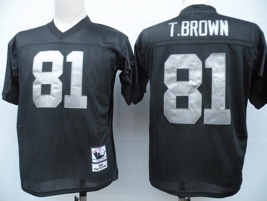 Oakland Raiders 81 Tim Brown Black Throwback Mitchell And Ness NFL Jersey