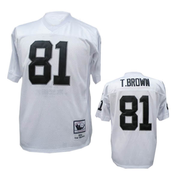 Oakland Raiders 81 Tim Brown White Throwback Mitchell And Ness NFL Jersey