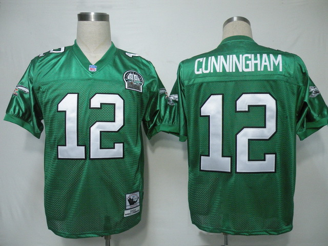 Philadelphia Eagles 12 Randall Cunningham Green 1992 Throwback Mitchell And Ness NFL Jersey