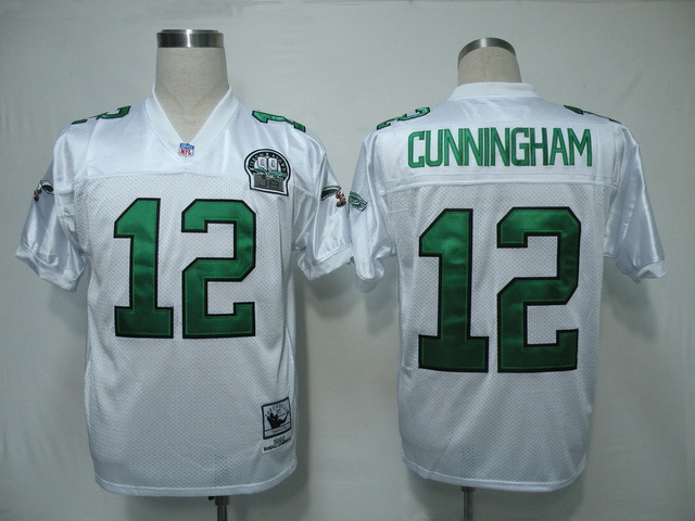 Philadelphia Eagles 12 Randall Cunningham White 1992 Throwback Mitchell And Ness NFL Jersey
