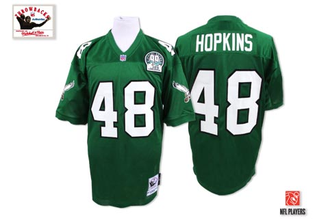 Philadelphia Eagles 48 Wes Hopkins Green Throwback Mitchell And Ness NFL Jersey