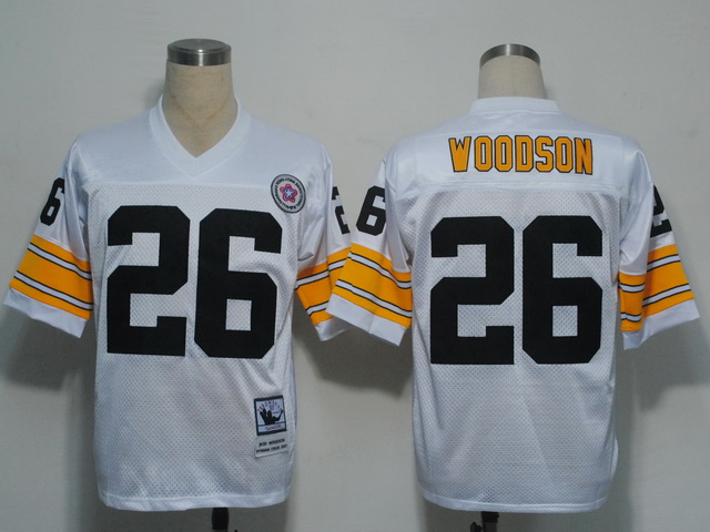 Pittsburgh Steelers 26 Rod Woodson White Throwback Mitchell And Ness NFL Jersey