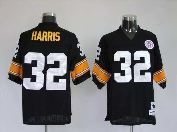 Pittsburgh Steelers 32 Franco Harris Black Throwback Mitchell And Ness NFL Jersey