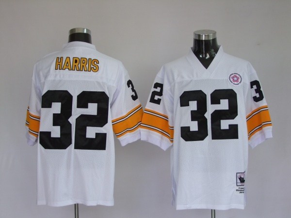 Pittsburgh Steelers 32 Franco Harris White Throwback Mitchell And Ness NFL Jersey