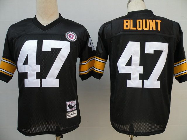 Pittsburgh Steelers 47 Blount Black Throwback Mitchell And Ness NFL Jersey