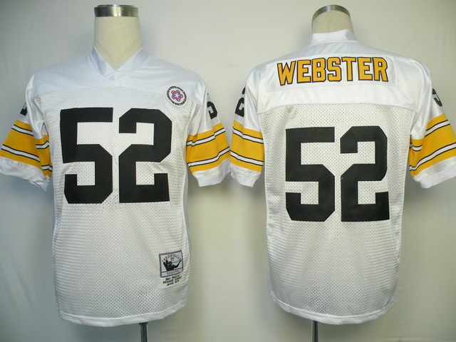 Pittsburgh Steelers 52 Mike Webster White Throwback Mitchell And Ness NFL Jersey