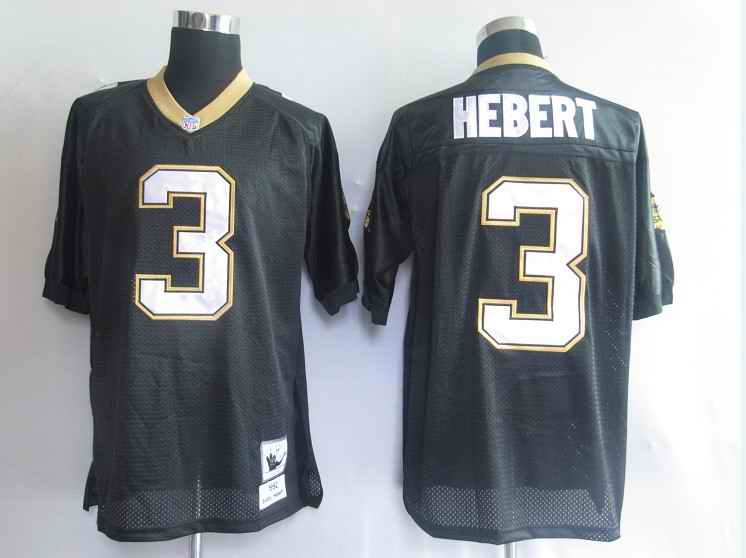 New Orleans Saints 3 Bobby Hebert Black Throwback Mitchell And Ness NFL Jersey