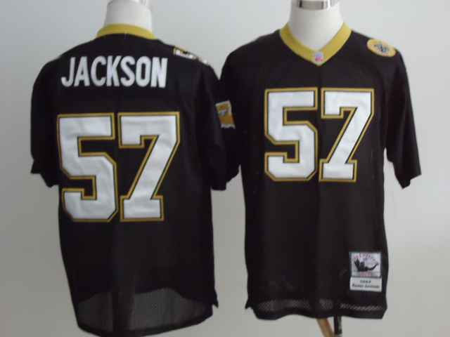 New Orleans Saints 57 Rickey Jackson Black Throwback Mitchell And Ness NFL Jersey
