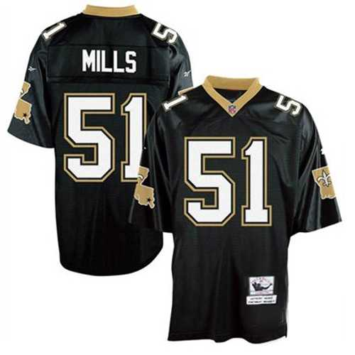 New Orleans Saints 51 Sam Mills Black Throwback Mitchell And Ness NFL Jersey