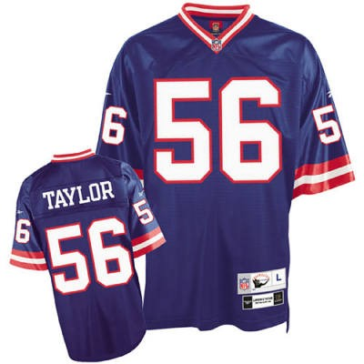 New York Giants 56 Lawrence Taylor Blue Throwback Mitchell And Ness NFL Jersey