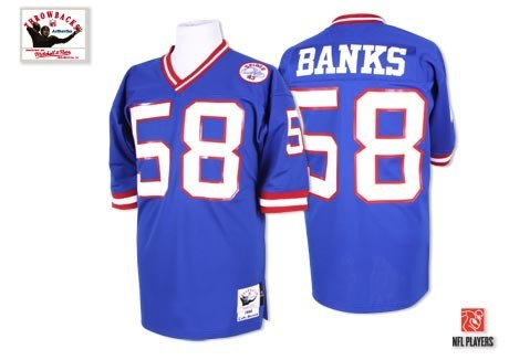 New York Giants 58 Carl Banks Blue Throwback Mitchell And Ness NFL Jersey