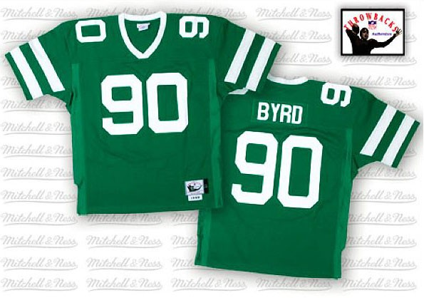 New York Jets 90 Dennis Byrd Green Throwback Mitchell And Ness NFL Jersey