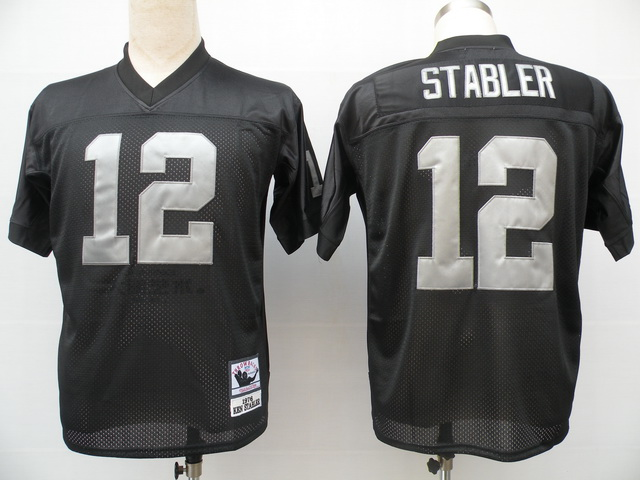 Oakland Raiders 12 Ken Stabler Black Throwback Mitchell And Ness NFL Jersey