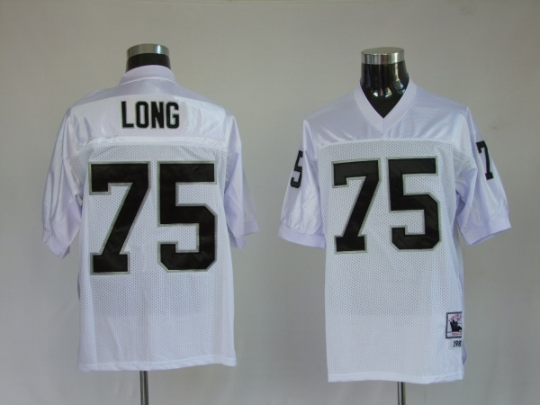 Oakland Raiders 75 Howie Long White Throwback Mitchell And Ness NFL Jersey