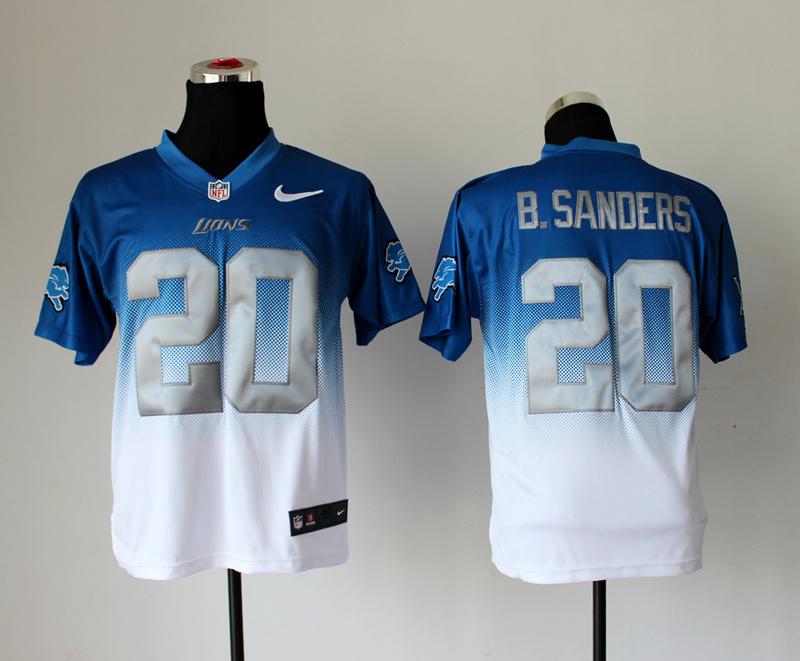 Detroit Lions 20 B.Sanders Blue White Nike Drift Fashion II Elite Jerseys