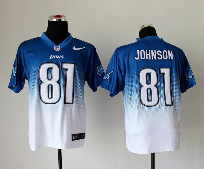 Detroit Lions 81 Johnson Blue White Nike Drift Fashion II Elite Jerseys