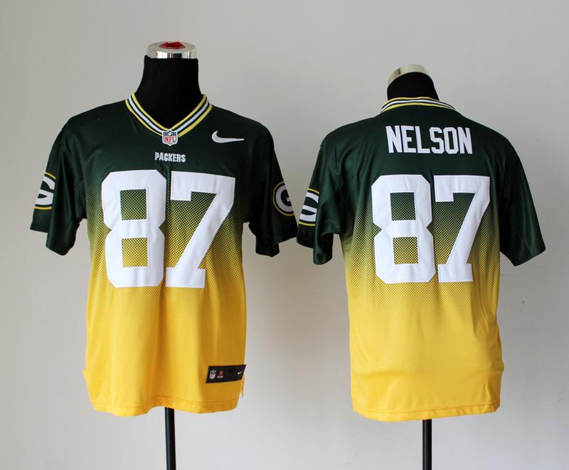 Green Bay Packers 87 Jordy Nelson Green Yellow Nike Drift Fashion II Elite Jerseys