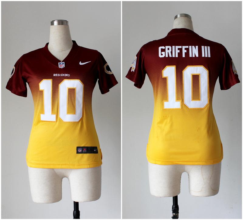 Womens Washington Redskins 10 Robert Griffin III Red Yellow Nike Drift Fashion II Elite Jerseys