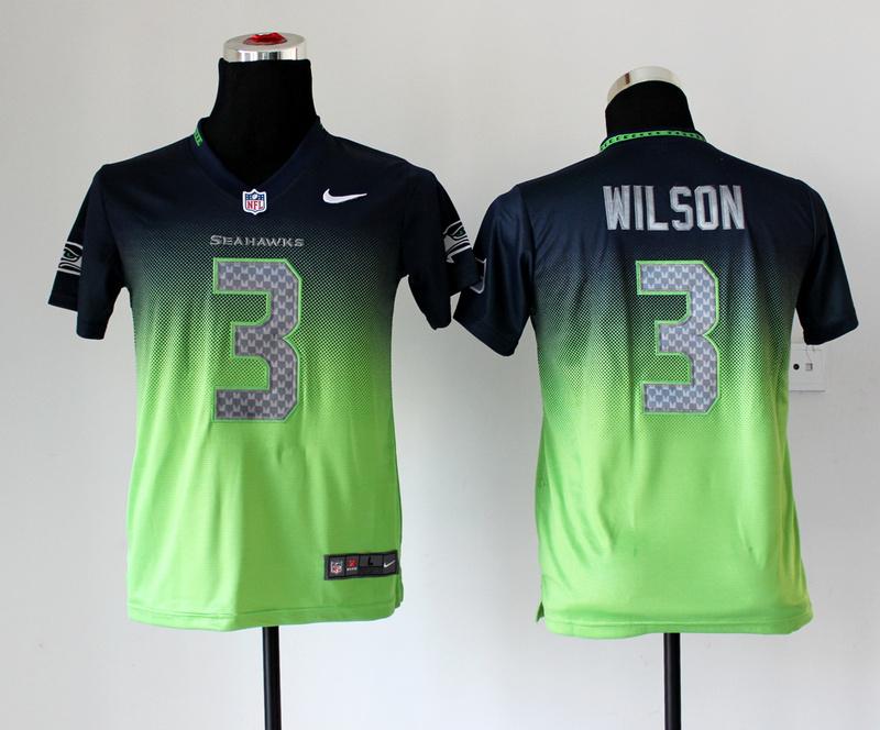 Youth Seattle Seahawks 3 Russell Wilson Blue Green Nike Drift Fashion II Elite Jerseys