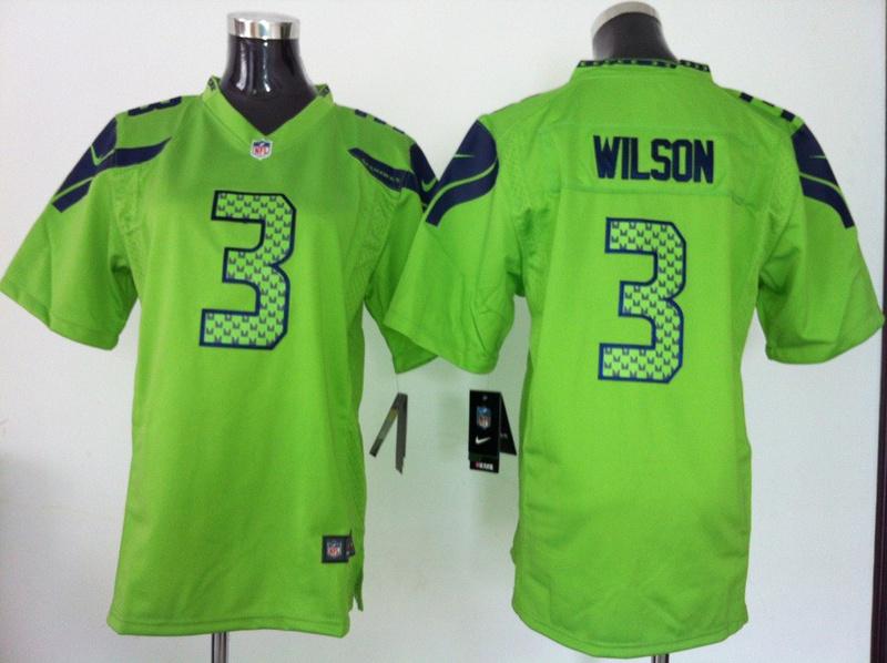 Youth Seattle Seahawks 3 Russell Wilson Green Nike Jersey