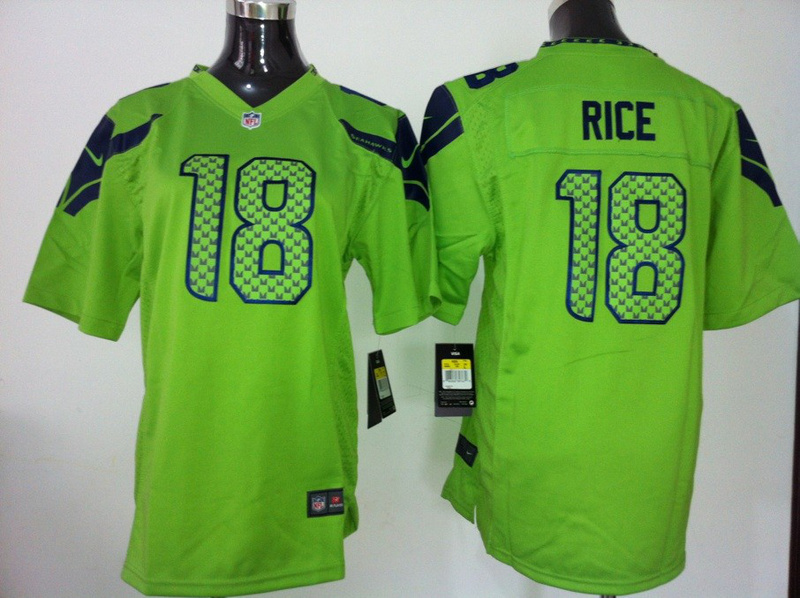 Youth Seattle Seahawks 18 Rice Green Nike Jersey