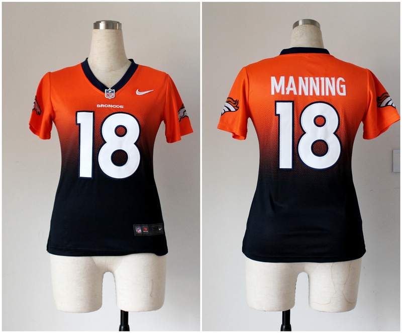 Womens Denver Broncos 18 Peyton Manning Orange Blue Nike Drift Fashion II Elite Jerseys