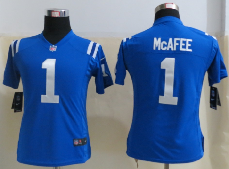 Womens Indianapolis Colts 1 Mcafee Blue 2013 New Nike Elite Jerseys
