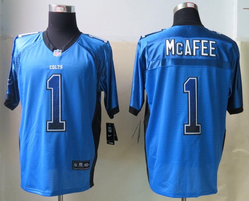 2013 NEW Nike Indianapolis Colts 1 McAfee Drift Fashion Blue Elite Jerseys