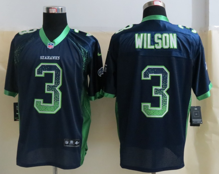 2013 New Nike Seattle Seahawks 3 Wilson Drift Fashion Blue Elite Jerseys