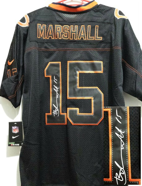 Chicago Bears 15 Marshall Black Nike Elite With player signed Jersey