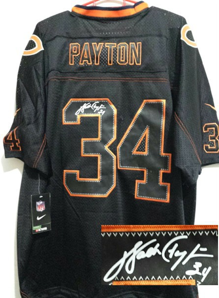 Chicago Bears 34 Payton Black Nike Elite With player signed Jersey