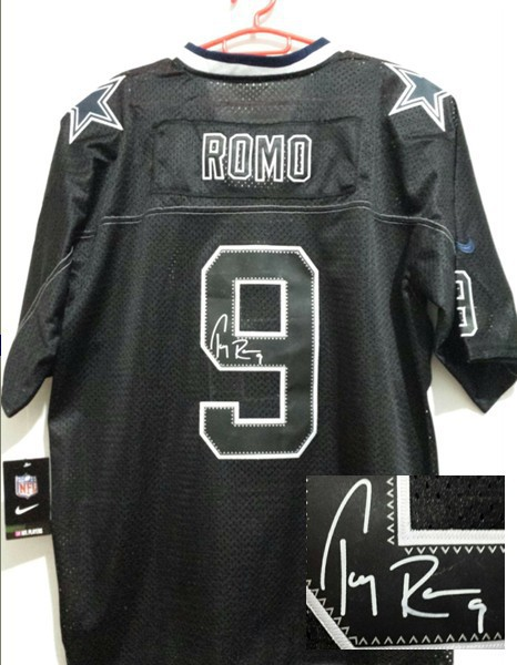 Dallas Cowboys 9 Tony Romo Black Nike Elite With player signed Jersey