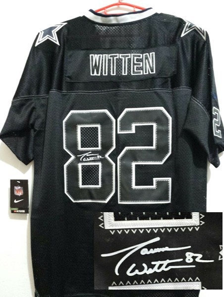 Dallas Cowboys 82 Jason Witten Black Nike Elite With player signed Jersey